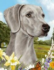 Outdoor Small Flag Weimaraner Dog Summer Flowers Garden Flag