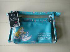 Disney Loungefly Alice In Wonderland Makeup 3 Bag Set Cosmetic Purse NONSENSE