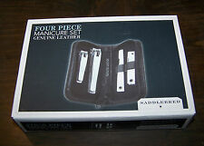 SADDLEBRED FOUR PIECE MANICURE SET NEW IN PACKAGE!  GENUINE LEATHER CASE!