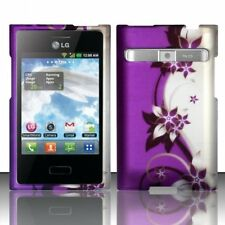 LG Optimus Logic L35G L38c Rubberized HARD Case Phone Cover Purple Silver Vines