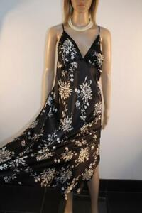 GORGEOUS BHS BLACK FLORAL GLOSSY LIQUID SATIN POLY NIGHTDRESS, SIZE 20 LONG