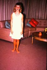 #8 35mm slide - Vintage - Collectibles -Photo - cute girl white dress pose couch