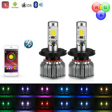HOT NEW H4 2 in 1 Hi-Low RGB Bluetooth LED Headlight Light Bulbs for Car/Truck