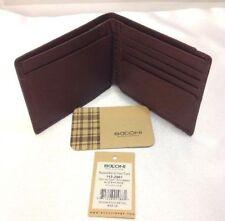 Boconi Leather Collins Calf Billfold Slim Wallet Espresso w/Green Plaid RFID New