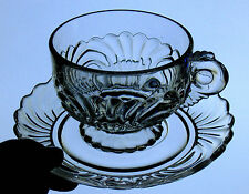 Cambridge CAPRICE clear glass CUP & SAUCER wave swirl ELEGANT U.S.A. 300