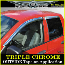 2002-2008 Dodge Ram 1500 03-09 2500 4P Chrome Door Vent Window Visor Rain Guards