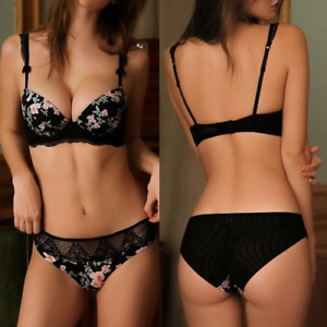 Push Up Padded Bra Floral Print Underwired Ruffle Straps Lingerie Bra Briefs Set