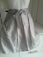 Principles dove grey fine linen mix knee length open pleat lined skirt size