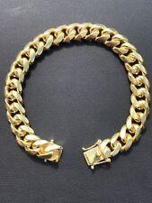 Mens Miami Cuban Link Bracelet 14k Gold Over Solid 925 Sterling Silver 11mm 53g