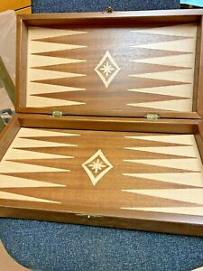 Greek Made Inlaid Wooden Back Backgammon boxed Board & Greek Olive wood Counters