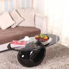 Modern Design Black Oval Glass Coffee Table With Fibreglass Base Living Room
