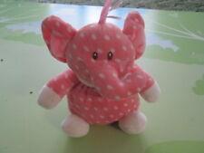 "Baby Ganz Pink Elephant w/ White Polka Dots Plush Stuffed Animal Rattle 7"""