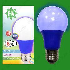 2x 6W LED Blue Coloured GLS A60 Light Bulb Lamp ES E27, Low Energy 110 - 265V
