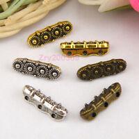 80Pcs Tibetan Silver,Gold,Bronze 3Holes 3Strands Spacer Beads Bar M1358