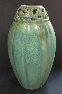 FULPER? Art Pottery Crystalline Green Open Floral Work Lamp Base