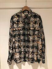 Saint Laurent Paris SS17 Bleached Oversized Flannel Plaid Shirt Sz. L