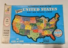 Vintage Map Of The United States Puzzle Milton Bradley Double Sided Complete