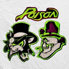 Set Poison Embroidered Patches Rock Band Skull Logo Bret Michaels Rikki Rockett