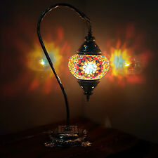 SILVER DESIGN Turkish Moroccan Colourful Tiffany Glass Desk Table Lamp Light