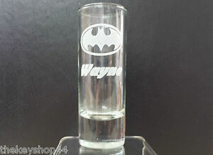 Personalised BATMAN logo Shot Glass, any name / message engraved