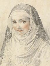 CLAUDE MELLAN FRENCH YOUNG NUN OLD ART PAINTING POSTER PRINT BB5122A