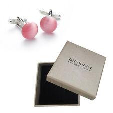 Mens Pink Circular Cats Eye Cufflinks & Gift Box By Onyx Art Smart Fashion