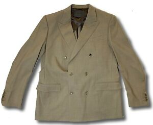 $1,800 Bally Double Breasted Tan Wool Blazer Size US 44, EU 54 Made in Italy
