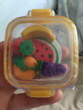 2016 Fashion Cute Kids Fruit cartoon  Colors Rubber Pencil eraser 5 Pack