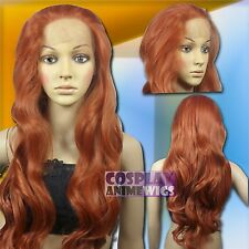 70cm Copper Red Heat Styleable Lace Front Wavy Long Cosplay Wigs S_350