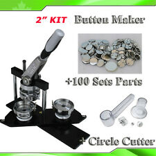 "ALL METAL 2""  KIT Button Maker+100Pin Badge Supplies+ Adjustable Circle Cutter"