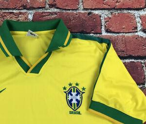 Vintage 90s Brasil Brazil Yellow Green Soccer Jersey Shirt Polo Adult Medium