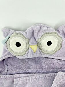 2 Owl Hooded Towels Baby Infant Purple