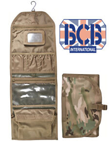 BCB Mens British Army Military Hanging Wash Shave Toilet Travel Bag Kit Roll New