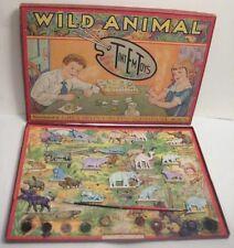 BOXED Set 16 Antique Cast Iron WILD ANIMAL TintEm Toys Grey Iron Mt Joy Pa RARE!