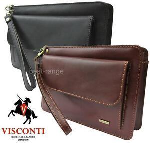 Mens Wrist Bag Real Leather Clutch Travel Organizer Quality Visconti New 02617