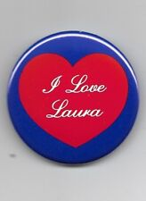 25 I love Laura name pins pinbacks buttons badges red heart blue edge 2 1/8 inch