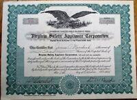 'Virginia Safety Appliance Corporation' 1958 Stock Certificate - VA