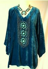 DOUBLE D RANCH 1X NAVAJO TEAL & TURQUOISE CRUSHED VELVET TUNIC TOP BLOUSE NEW