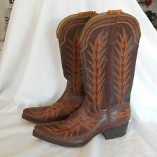Vintage Stewart Romero Boot Co. Cowboy Boots  Los Angeles Brown Western Mexico