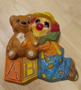 "Vintage Frankies Designs Nursery Wall Plaque Bears & Clowns & Blocks 7"""