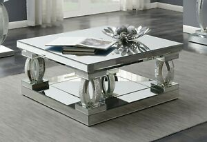 Modern Contemporary Glam Occasional Mirrored Acrylic Cocktail Coffee Table