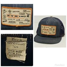 VTG 70's Denim Patch Snapback Trucker Hat *Made in USA* Manufacturers Rep Cap