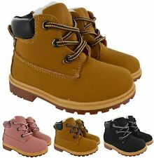 KIDS GIRLS BOYS INFANTS COMBAT ANKLE FUR LINED WINTER WARM ZIP SHOES BOOTS SIZE