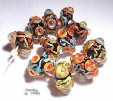 MILAGROS Handmade Lampwork Beads - Black Coral Turquoise Orange Red Vibrant (11)
