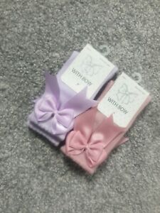 Baby Girl Pink lilac bow Socks 0-3 Spanish Romany satin traditional G