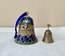 🔔Rare Vtg Cloisonne Bell Enamel Over Brass & Lunt Usa Ep Pewter Gold Tone Bells