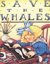 Save The Whales-Handcrafted Scrapbook Fridge Magnet-Using art by Mary Engelbreit