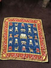 """VINTAGE GUCCI """"BAROQUE CHAIRS"""" NAVY BLUE/YELLOW/RED LARGE SILK SCARF"""