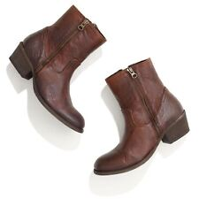 H by Hudson Distressed Brwn Leather Riley Side Zip Mid Moto Boots 41 10 $335