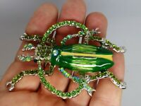 Insect beetle brooch big green enamel rhinestone vintage style in gift box